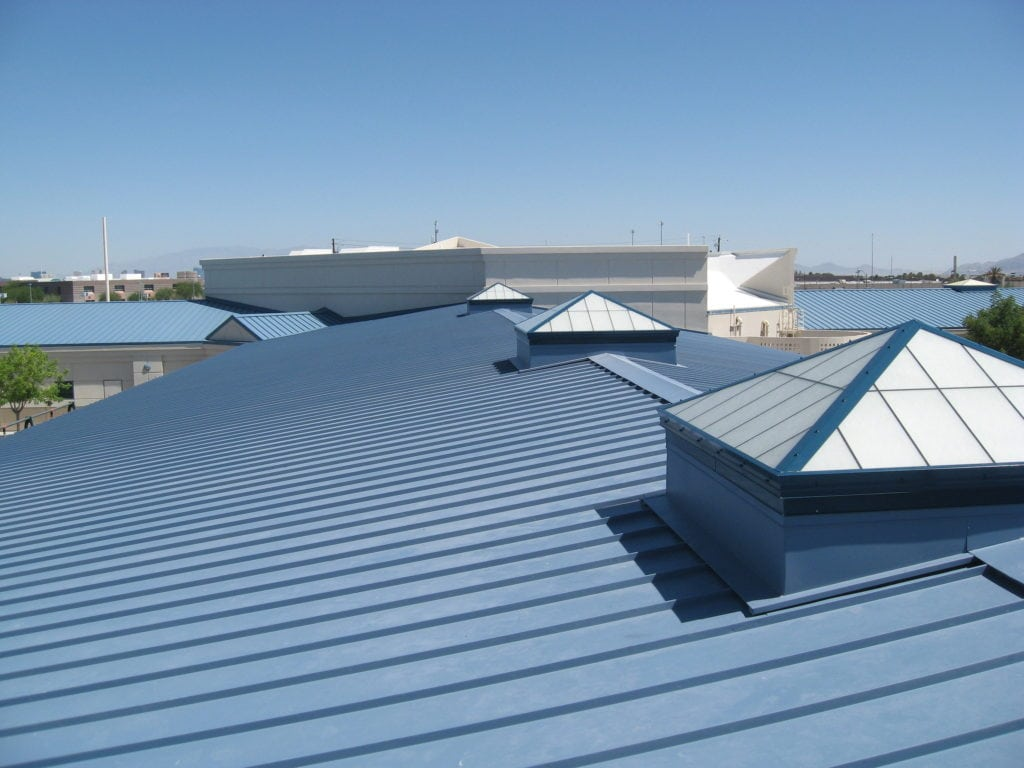 Grey commercial roof completed by Bowling Roofing.